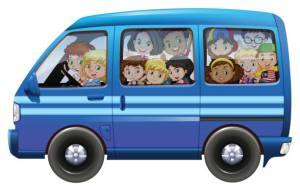 Blue van full of children illustration
